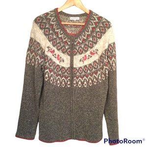 Northern Reflections Full Zipper Grandma Knit Sweater with Cardinals Size XXL